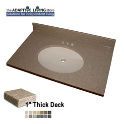 "ADA Oval Bowl Vanity Sink Top, 1"" Deck, Standard Granite Colors LARGE"