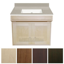 "30"" ADA Handicap Vanity Cabinet Package Contractor Series, Cappuccino Top LARGE"