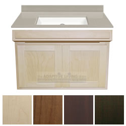 "36"" ADA Handicap Vanity Cabinet Package Contractor Series, Cappuccino Top LARGE"