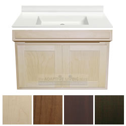"36"" ADA Handicap Vanity Cabinet Package Contractor Series, White Sink Top LARGE"