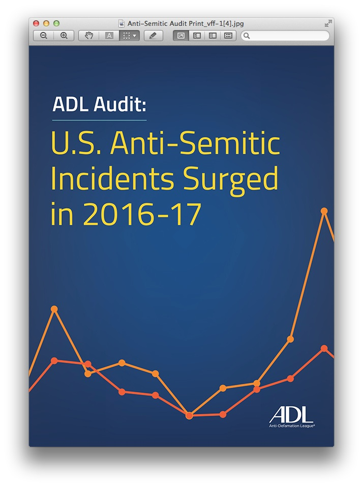 ADL Audit: US Anti-Semetic Incidents Surged in 2016-17