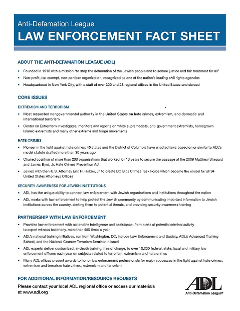 ADL Fact Sheet for Law Enforcement