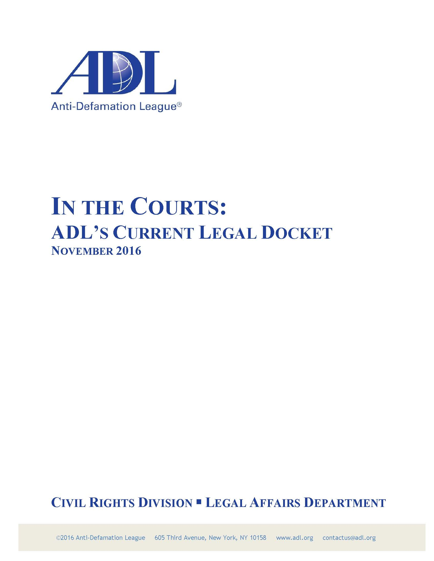 ADL in the Courts: November 2016 THUMBNAIL