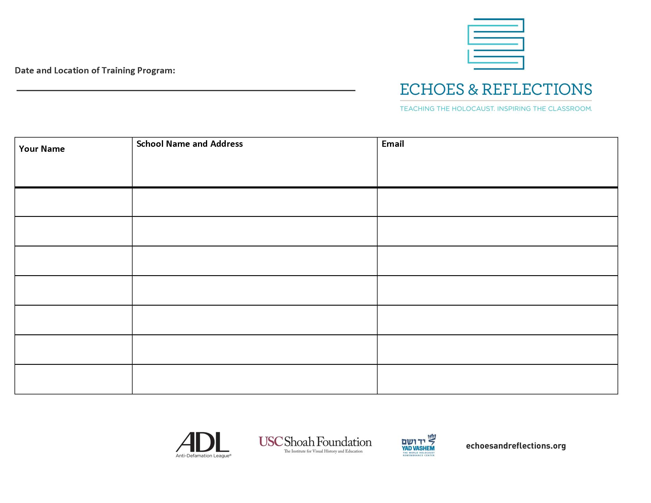 Echoes & Reflections  - Sign In Sheet