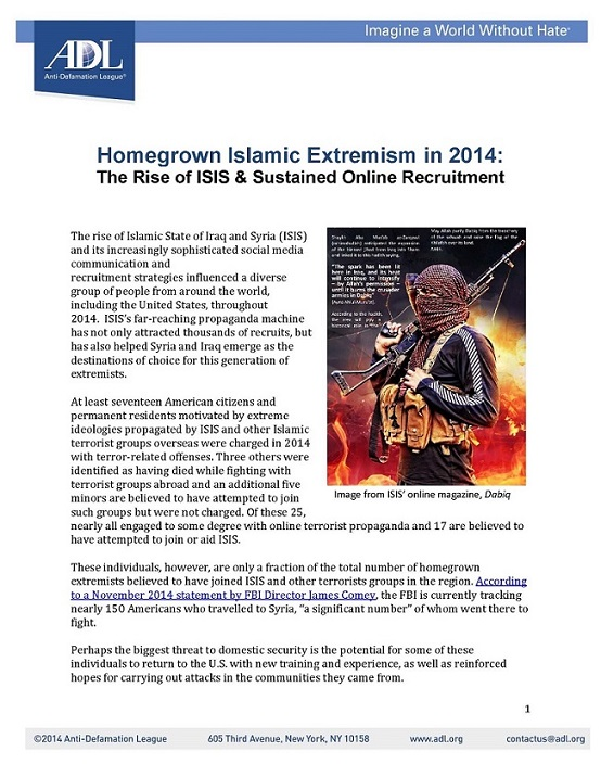 Homegrown Islamic Extremism in 2014: The Rise of ISIS & Sustained Online Recruitment LARGE