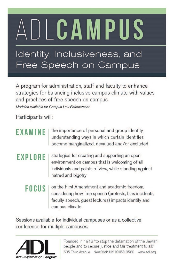 ADL Campus: Identity, Inclusiveness, and Free Speech on Campus