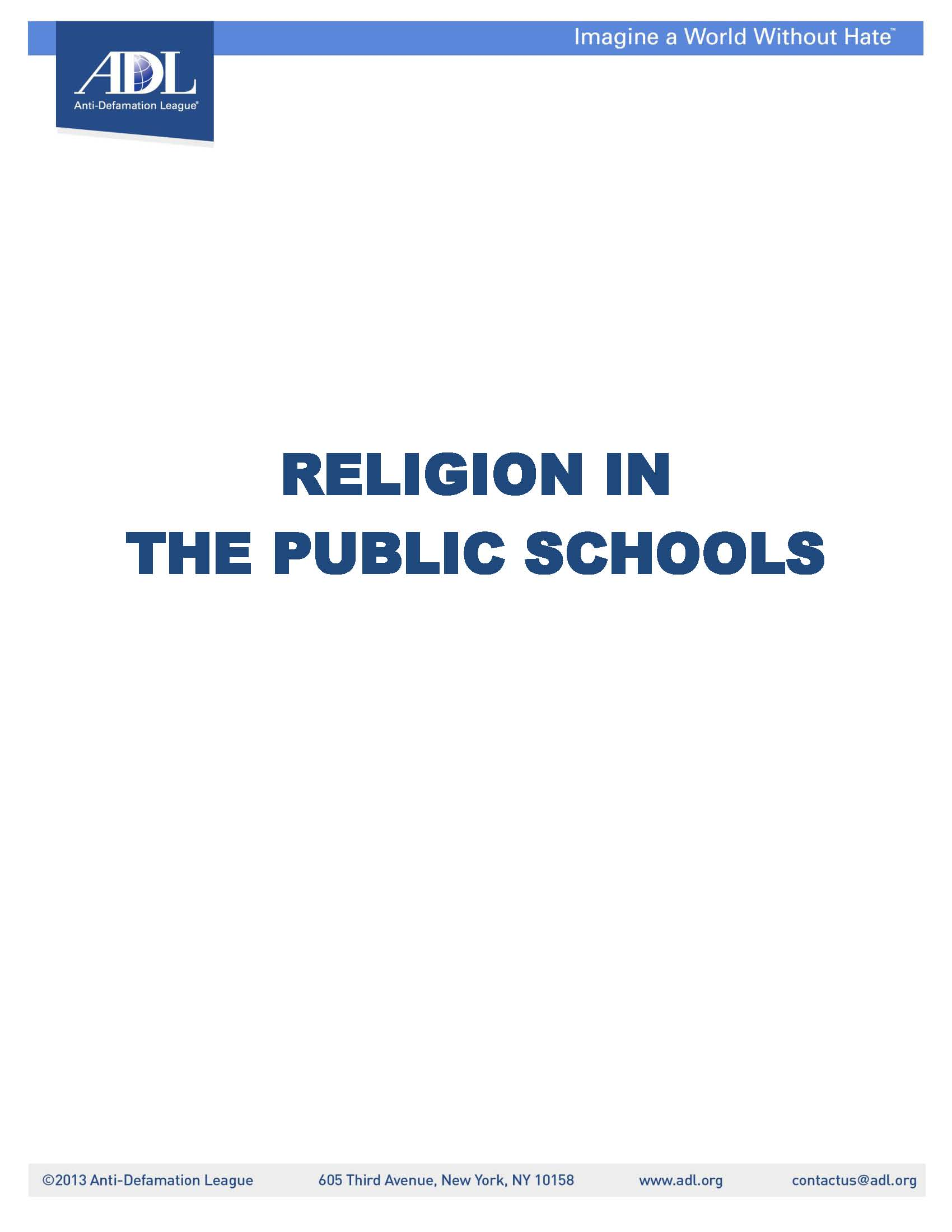 Religion in the Public Schools LARGE