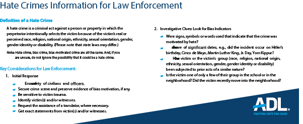 Hate Crimes Information for Law Enforcement THUMBNAIL