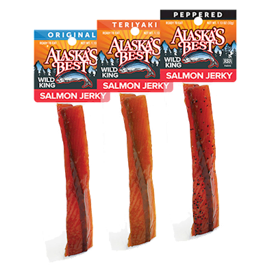 Wild Salmon Jerky 12 pack Sampler, 1 oz. Sticks LARGE