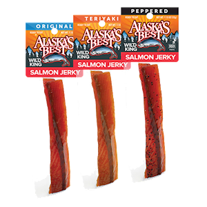 Wild Salmon Jerky 12 pack Sampler, 1 oz. Sticks THUMBNAIL