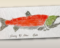Alaska's Best Alaska Art - Red Spawning Salmon - GAIJIN GYOTAKU