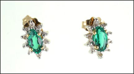 36adace281aca Lab Created Emerald Earrings in 14K Yellow Gold