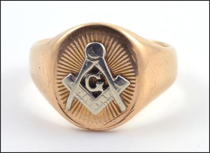 Men's Masonic Blue Lodge Ring in 10K Yellow Gold