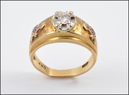 Masonic Blue Lodge Diamond Ring in 10K Yellow Gold