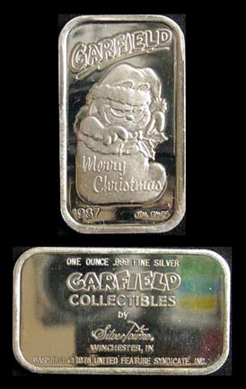 999 Silver Art Bar Garfield Merry Christmas 1987 By