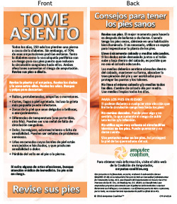 "Spanish ""Take a Seat, Check Your Feet"" Limb Loss Awareness Postcards_MAIN"