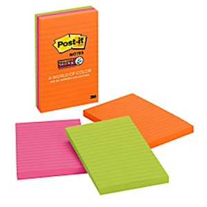 Post-it Super Sticky Notes, 4in x 6in, Rio de Janeiro, Lined - Pack Of 3 Pads MAIN