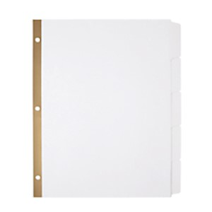 Office Depot Brand 20% Recycled Erasable Big Tab Dividers, 5-Tab, White - Set Of 1 MAIN