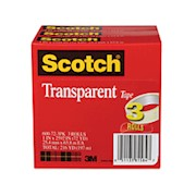 Scotch Transparent Tape, 1in x 2,592in, Clear - Pack Of 3 Rolls THUMBNAIL