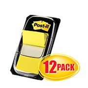Post-it Flags, 1in x 1 -11/16in, Yellow, 50 Flags Per Pad, Pack Of 12 Pads - Box Of 12 THUMBNAIL
