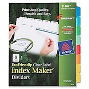 SKILCRAFT Index Maker 100% Recycled Clear Label Dividers W Color Tabs, 8-Tab (AbilityOne - Set Of 1 THUMBNAIL