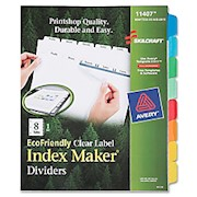SKILCRAFT Index Maker 100% Recycled Clear Label Dividers W White Tabs, 8-Tab (AbilityOne) - Set Of 1 THUMBNAIL