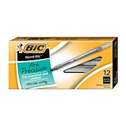 BIC Round Stic Ballpoint Pens, Fine Point, 0.8 mm, Translucent Barrel, Black Ink 12  - Dozen THUMBNAIL