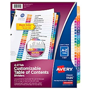 Avery Ready Index Table Of Contents Dividers, A-Z Tab, Multicolor - Set Of 1 MAIN