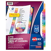Avery Ready Index Table Of Contents Dividers, A-Z Tab, Multicolor - Set Of 1 THUMBNAIL