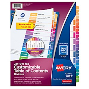 Avery Ready Index Table Of Contents Dividers, Jan.-Dec. Tab, Multicolor - Set Of 1 MAIN