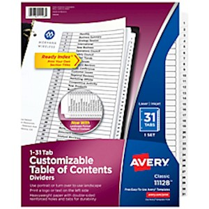 Avery Ready Index 20% Recycled Table Of Contents Dividers, 1-31 Tab, Black/White - Set Of 1 MAIN