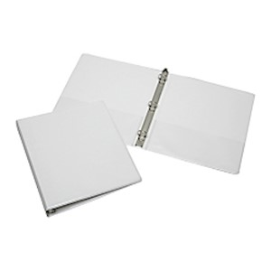 SKILCRAFT Clear Overlay Binder, 1in Rings, 30% Recycled, White (AbilityOne) - 1 Each MAIN