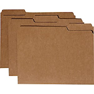 SKILCRAFT File Folders, 1/3 Cut, Letter Size, 30% Recycled, Kraft (AbilityOne - Box Of 100 MAIN