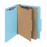 Smead Pressboard Classification Folder, 2 Dividers, Letter Size, 50% Recycled, Blue - 1 Each THUMBNAIL