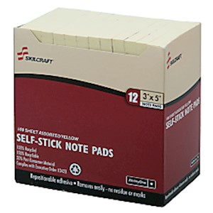 3in x 5in 30% Recycled Self-Stick Notes, Yellow (AbilityOne 7530-01-116-7865) 12  - Dozen MAIN