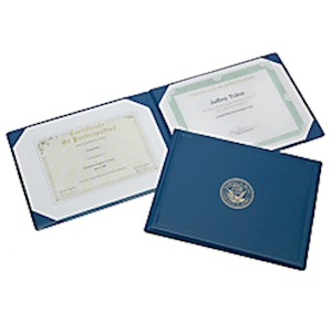 Award Certificates Vinyl Holder, 8 1/2in x 11in, Blue/Navy (AbilityOne 7510-00-482-2994) - 1 Each MAIN