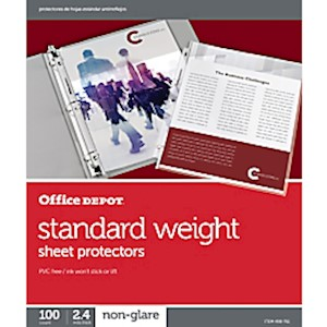Office Depot Standard Weight Sheet Protectors, 8-1/2in x 11in, Clear, Non-Glare - Box Of 100 MAIN