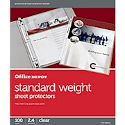 Office Depot Brand Standard Weight Sheet Protectors, 8-1/2in x 11in, Clear, Box Of THUMBNAIL