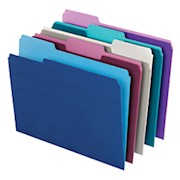 Office Depot Brand Top Tab Color File Folders, 1/3 Cut, Letter Size, Assorted Colors - Box Of 100 THUMBNAIL