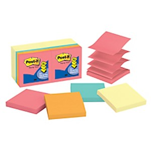 Post-it Pop-up Notes, 3in x 3in, Assorted Colors, 100 Sheets Per Pad - Pack Of 14 MAIN
