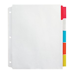 Office Depot Brand Insertable Extra-Wide Dividers With Big Tabs, Assorted Colors - Set Of 5 MAIN