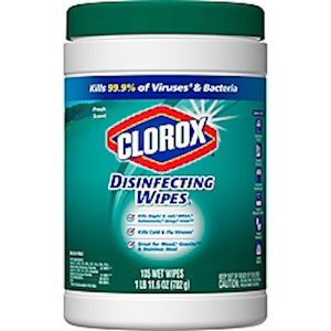 Clorox Disinfecting Wipes, Fresh Scent, 7in x 8in, White, 105 Wipes Per Canister - 105 Each MAIN