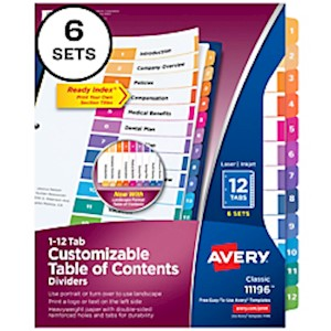 Avery Ready Index 20% Recycled Table Of Contents Dividers, 1-12 Tab, Multicolor - Pack Of 6 MAIN