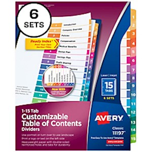 Avery Ready Index 20% Recycled Table Of Contents Dividers, 1-15 Tab, Multicolor - Set Of 6 MAIN