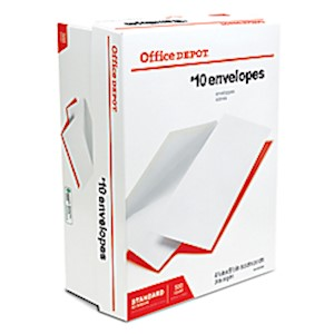Office Depot All-Purpose Envelopes, #10, 4-1/8in x 9-1/2in, White - Box Of 500 MAIN