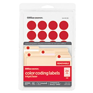Office Depot Brand Removable Round Color-Coding Labels, OD98786, 3/4in Diameter - Pack Of 1008 MAIN