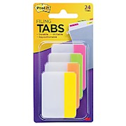 Post-it Notes Durable Filing Tabs, 2in x 1-1/2in, Assorted Colors, 6 Flags Per Pad - Pack Of 4 THUMBNAIL
