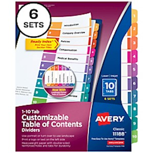 Avery Ready Index 20% Recycled Table Of Contents Dividers, 1-10 Tab, Multicolor - Set Of 6 MAIN
