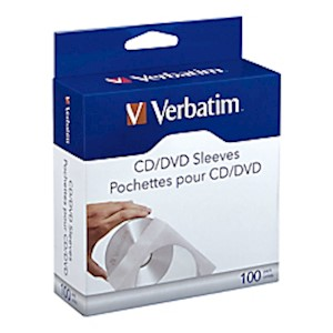 Verbatim CD/DVD Paper Sleeves with Clear Window - 100pk Box - Sleeve - Paper - Pack Of 100 MAIN