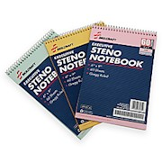 50% Recycled Steno Notebooks, 6in x 9in, Gregg Ruled, 60 Pages (30 Sheets), White/Blue - Pack Of 3 THUMBNAIL